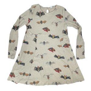 ModCloth Pepaloves Bat'll Do Bat Print Long Sleeve Mini Dress Halloween Theme S